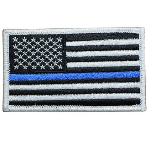 Thin Blue Line Patch - USA Flag - Police Officer and Law Enforcement (Iron On)