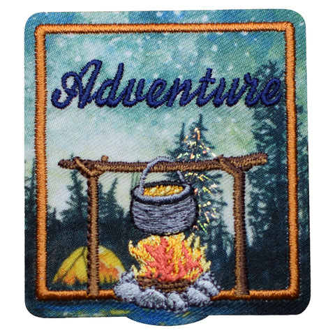 "Adventure Patch - Camping, Hiking, Nature Badge 2.25"" (Iron on)"