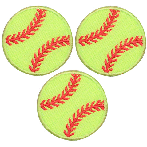 "Softball Applique Patch - Neon Yellow, Sports Badge 1.5"" (3-Pack, Iron on)"