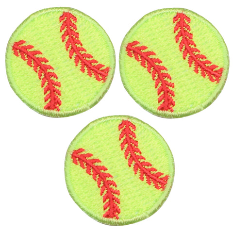 "Softball Applique Patch - Neon Yellow, Sports Badge 1"" (3-Pack, Iron on)"