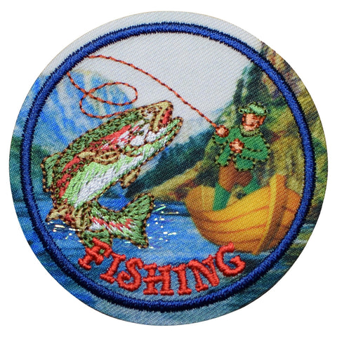 "Fishing Patch - Boat, Fisherman, Outdoors Badge 2.25"" (Iron on)"