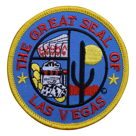 The Great Seal of Las Vegas Patch - Cactus, Poker, Slot Machine, Craps (Iron on)