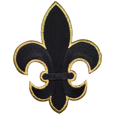 "Fleur De Lis Applique Patch - Black, Metallic Gold 4"" (Iron on)"