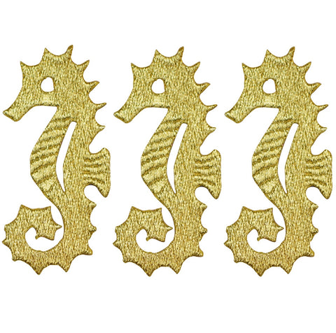 "Seahorse Applique Patch - Gold, Ocean Tropical Fish 2.75"" (3-Pack, Iron on)"