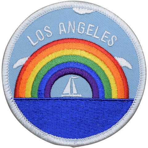 "Los Angeles Patch - California, Rainbow, Sailboat, Sailing Badge 3"" (Iron on)"