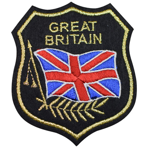 "Great Britain Applique Patch - Mylar, GB Flag, UK Badge 3.25"" (Iron on)"