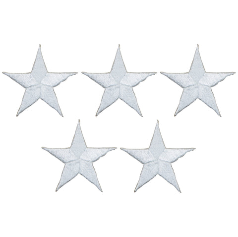 "Star Applique Patch - White 1.25"" (5-Pack, Small, Iron on)"