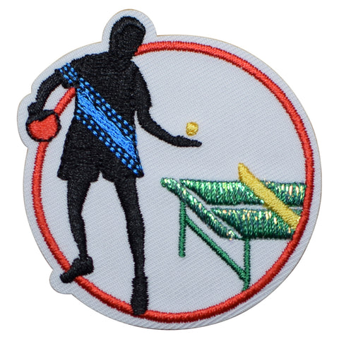 "Table Tennis Applique Patch - Pink Pong Badge 2.25"" (Iron on)"