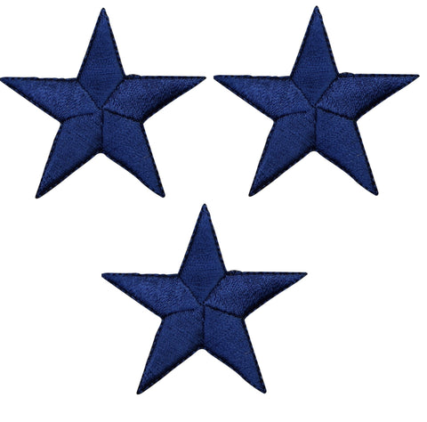 "Star Applique Patch - Navy Blue 2.25"" (3-Pack, Iron on)"