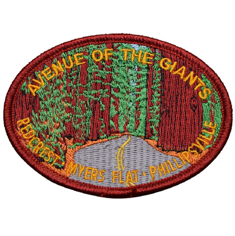 "Avenue of the Giants Patch - Humboldt, California Redwood Trees, Highway 101 3.5"" (Iron on)"