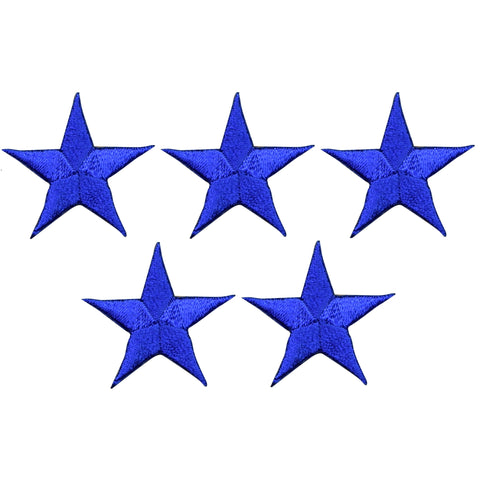 "Star Applique Patch - Royal Blue 1.25"" (5-Pack, Small, Iron on)"