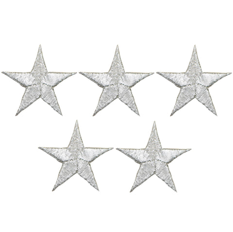 "Star Applique Patch - Silver 1.25"" (5-Pack, Small, Iron on)"