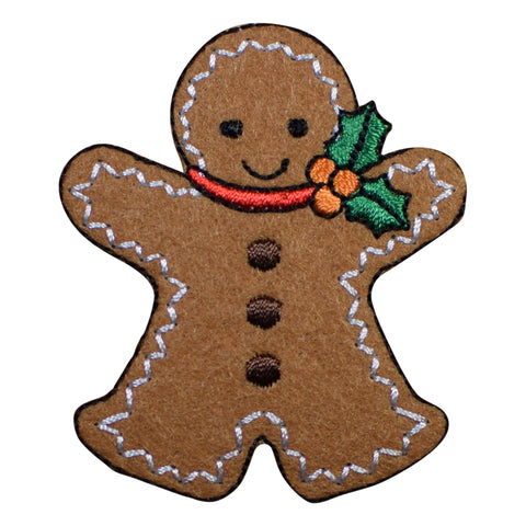 "Gingerbread Man Applique Patch - Christmas, Holly Badge 2.5"" (Iron on)"