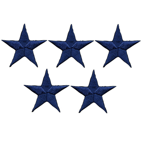"Star Applique Patch - Navy Blue 1.5"" (5-Pack, Iron on)"