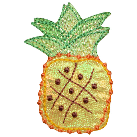 "Pineapple Applique Patch - Tropical Fruit, Shimmery Food Badge 2"" (Iron on)"