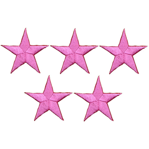 "Star Applique Patch - Pink 1.25"" (5-Pack, Small, Iron on)"