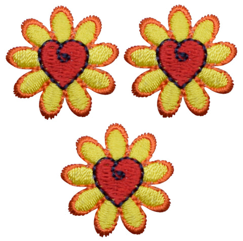 "Daisy Applique Patch - Flower, Heart Badge 1"" (3-Pack, Iron on)"