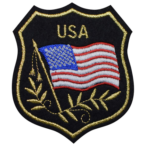 "American Flag Patch - United States, USA, Mylar Badge 3.25"" (Iron on)"