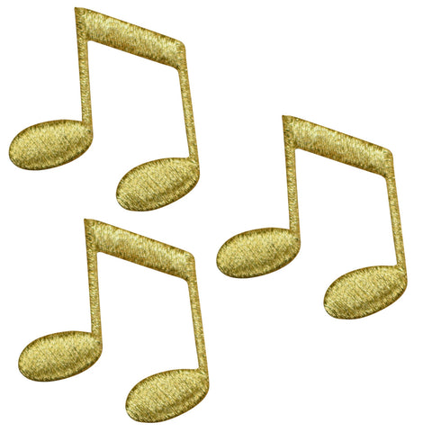 "Double Note Applique Patch - Metallic Gold, Sheet Music 1.5"" (3-Pack, Iron on)"