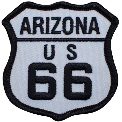"Arizona Patch - Route 66 AZ Sign, Black and White 2.5"" (Iron on)"
