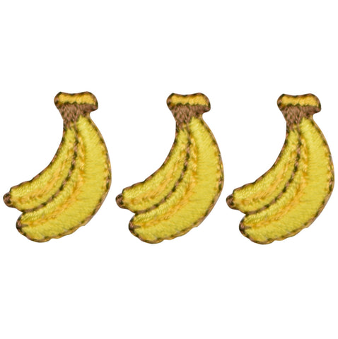 "Banana Applique Patch - Bunch of Bananas, Fruit Badge 7/8"" (3-Pack, Iron on)"