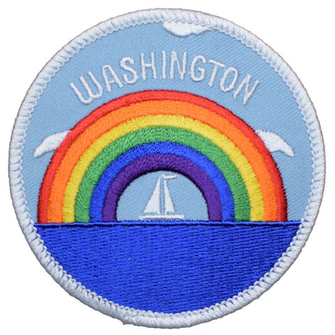 Washington Patch - Rainbow and Sailboat (Iron On)