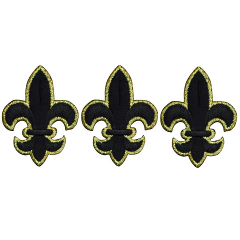 "Fleur De Lis Cross Applique Patch - Black and Gold 1-3/4"" (3-Pack, Small, Iron on)"