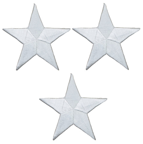 "Star Applique Patch - White 2.25"" (3-Pack, Iron on)"