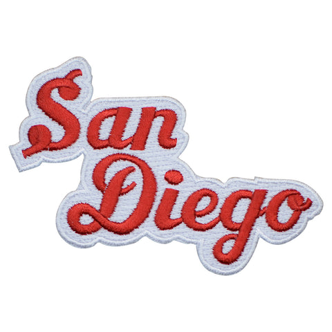 "San Diego Patch - California, CA Red/White Script Badge 4"" (Iron on)"