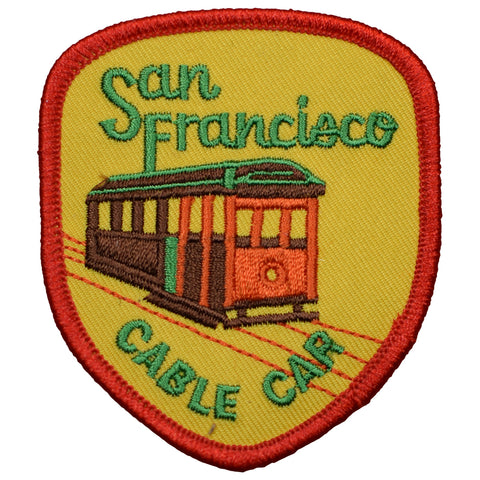 San Francisco Cable Car Patch - Yellow and Red (Iron On)