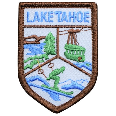 "Lake Tahoe Patch - California, Nevada, Ski Lift, Snow, Resorts 2-5/8"" (Iron on)"