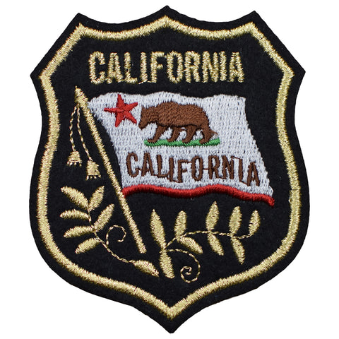 "California Patch - Grizzly Bear, CA Flag Mylar Badge 3-3/8"" (Iron on)"
