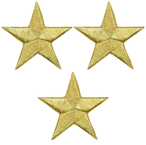"Star Applique Patch - Gold 2.25"" (3-Pack, Iron on)"