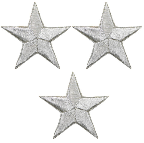 "Star Applique Patch - Silver 2.25"" (3-Pack, Iron on)"