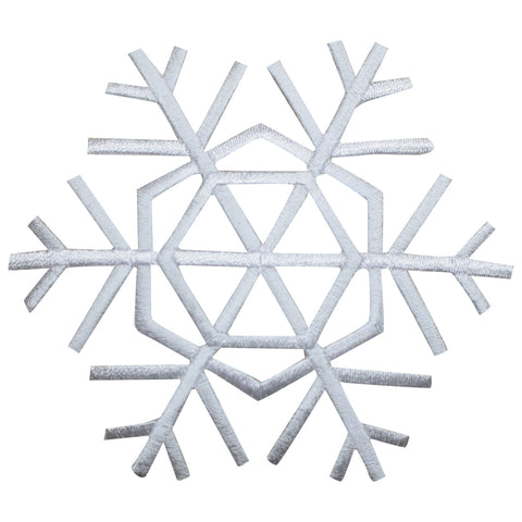 "Snowflake Applique Patch - White Snow, Winter Badge 3.25"" (Iron on)"