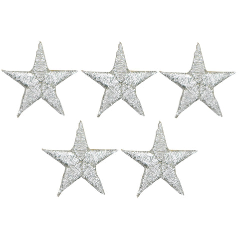 "Star Applique Patch - Silver 7/8"" (5-Pack, Small, Iron on)"