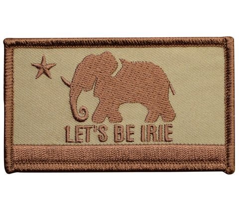 "LET'S BE IRIE Patch - California Flag Style, Reggae, Jamaica 3.5"" (Iron on)"