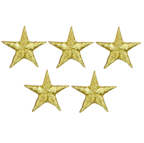 "Star Applique Patch - Gold 7/8"" (5-Pack, Small, Iron on)"