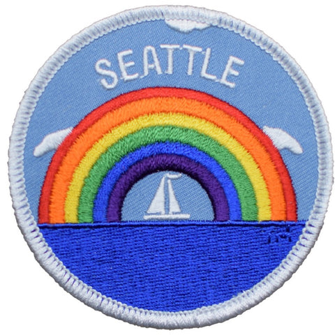 Seattle Patch - Washington, Rainbow, Sailboat (Iron On)