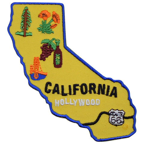 "California Patch - Route 66 Redwoods Hollywood Napa San Francisco 4"" (Iron on)"