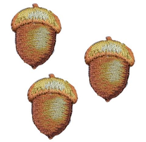 "Mini Acorn Nut Applique Patch - Fall, Autumn Badge 7/8"" (3-Pack, Iron on)"