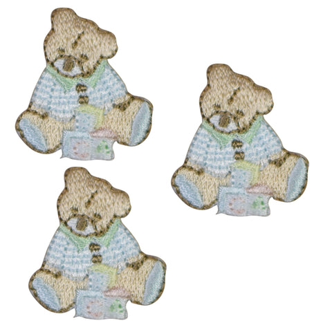 Teddy Bear with Building Blocks Applique Patch (3-Pack, Small, Iron on)