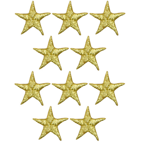 "Star Applique Patch - Gold 5/8"" (10-Pack, Iron on)"