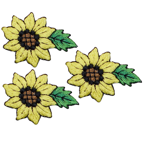 "Sunflower Applique Patch - Flower, Leaf Badge 1-5/8"" (3-Pack, Iron on)"