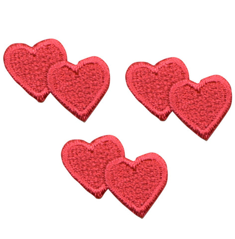 Double Red Hearts Applique Patch - Valentines Day Heart (3-Pack, Iron on)