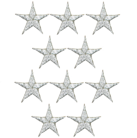 "Star Applique Patch - Silver 5/8"" (10-Pack, Iron on)"