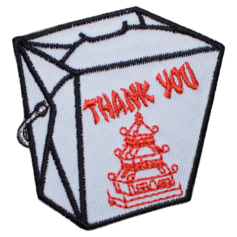 "Chinese Food Applique Patch - Food Container, To-Go Badge 2.25"" (Iron on)"