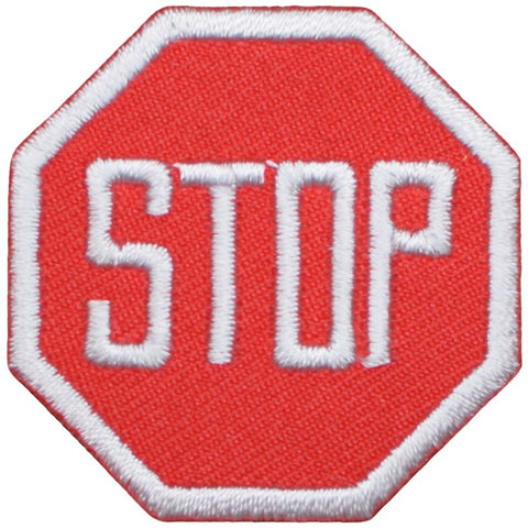 "Stop Sign Applique Patch - Street Sign, Driving Badge 1.5"" (Iron on)"