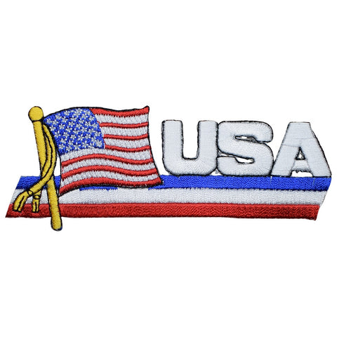 "USA Applique Patch - Wavy Flag, United States Badge 4-7/8"" (Iron on)"