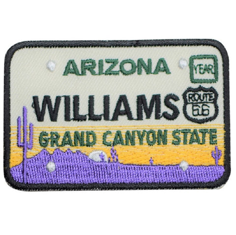 Williams Arizona Patch - Route 66, License Plate, Grand Canyon State (Iron on)
